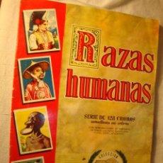 Coleccionismo Álbumes: ALBUM DE CROMOS ORIGINAL INCOMPLETO RAZAS HUMANAS .EDITORIAL BRUGUERA. MUY BUEN ESTADO.. Lote 50161919