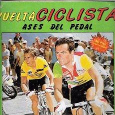 Coleccionismo Álbumes: ALBUM. VUELTA CICLISTA, ASES DEL PEDAL. POCOS CROMOS DE 128. 34 X 24 CM. Lote 50184985