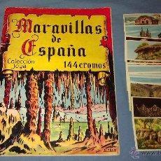 Coleccionismo Álbumes: ANTIGUO ÁLBUM DE CROMOS MARAVILLAS DE ESPAÑA ED. CASULLERAS CASI COMPLETO MÁS CROMOS REPES DE REGALO. Lote 50190986
