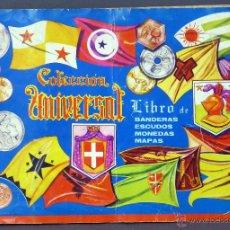 Coleccionismo Álbumes: COLECCIÓN UNIVERSAL LIBRO BANDERAS ESCUDOS MONEDAS MAPAS ALES 1962 ALBUM INCOMPLETO FALTAN 3 CROMOS. Lote 53317679