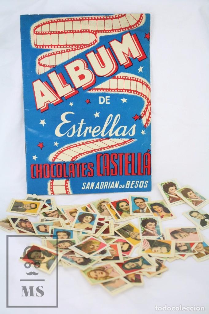 ÁLBUM CROMOS INCOMPLETO - ÁLBUM DE ESTRELLAS. CHOCOLATES CASTELLÁ, SAN ADRIÁN / ADRIÀ BESÒS -RAREZA (Coleccionismo - Cromos y Álbumes - Álbumes Incompletos)