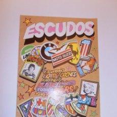Coleccionismo Álbumes: ALBUM PLANCHA ESCUDOS, DE DIFUSORA DE CULTURA, AÑO 1981+69 CROMOS. BUEN ESTADO.. Lote 73608011