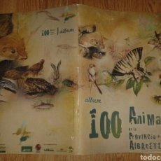 Coleccionismo Álbumes: ALBUM PLANCHA 100 ANIMALES FAUNA DE LA PROVINCIA DE ALBACETE. Lote 75148098