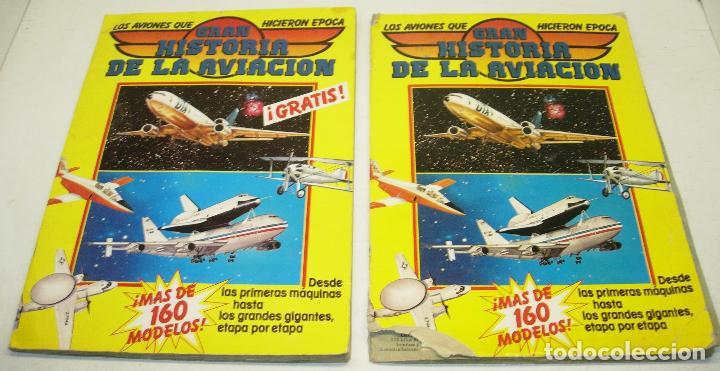 LOTE 2 ALBUM CROMOS GRAN HISTORIA DE LA AVIACION ED. SARPE 1985 (Coleccionismo - Cromos y Álbumes - Álbumes Incompletos)