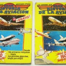Coleccionismo Álbumes: LOTE 2 ALBUM CROMOS GRAN HISTORIA DE LA AVIACION ED. SARPE 1985. Lote 38894848