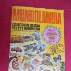 Coleccionismo Álbumes: ALBUM DE CROMOS INCOMPLETO. MUNDOLANDIA. EDITORIAL BRUGUERA. CONTIENE 350 CROMOS. Lote 81132644