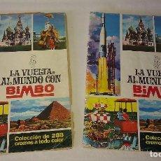 Coleccionismo Álbumes: LOTE DE 2 ÁLBUMES LA VUELTA AL MUNDO CON BIMBO PARA APROVECHAR CROMOS - ÁLBUM BIMBO AÑOS 60 -. Lote 89344860