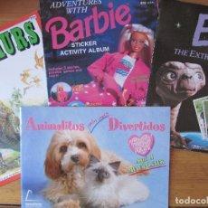 Coleccionismo Álbumes: LOTE DE 4 ALBUMS - DINOSAURS, BARBIE, E.T. Y ANIMALITOS AUN MAS DIVERTIDOS. Lote 95823487
