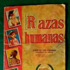 Coleccionismo Álbumes: ANTIGUO ALBUM DE RAZAS HUMANAS - 128 CROMOS (FALTAN 3) - EDITORIAL BRUGUERA 1955 . Lote 99828467