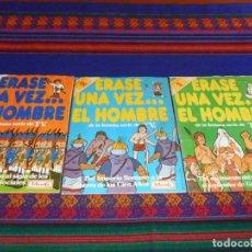 Coleccionismo Álbumes: ÉRASE UNA VEZ EL HOMBRE FASCÍCULO 1 2 3 4 COMPLETO A FALTA CROMO 83 131. PANRICO 1978. MUY DIFÍCIL.. Lote 101128215