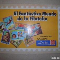 Coleccionismo Álbumes: ALBUM INCOMPLETO (UNA FALTA): EL FANTASTICO MUNDO DE LA FILATELIA, DE GALLETAS LOSTE. Lote 120008462