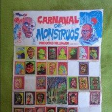 Coleccionismo Álbumes: ÁLBUM PÓSTER CARNAVAL DE MONSTRUOS INCOMPLETO FALTAN 15 DE 96 CROMOS - PRODUCTOS MILLONARIO -DIFÍCIL. Lote 102643439