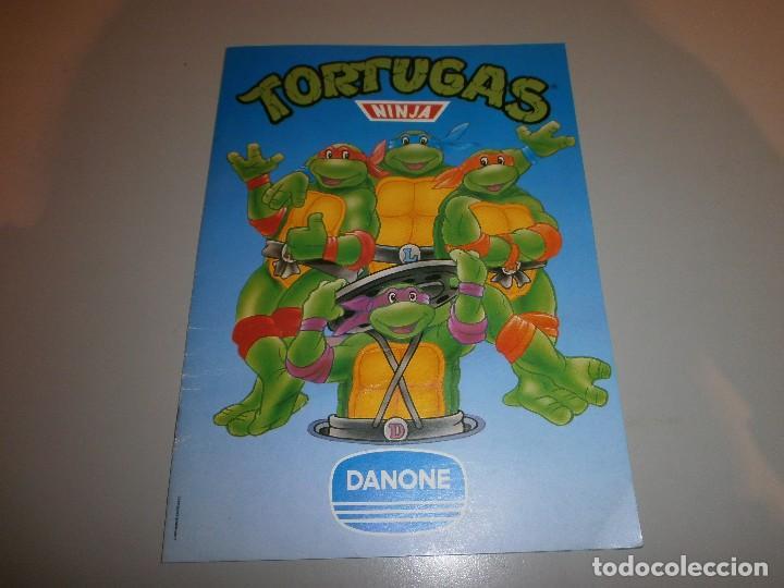 ALBUM TORTUGAS NINJA DE DANONE CON 4 CROMOS (Coleccionismo - Cromos y Álbumes - Álbumes Incompletos)