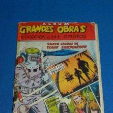Coleccionismo Álbumes: ALBUM GRANDES OBRAS 20000 LENGUAS DE VIAJE SUBMARINO, ROBINSON CRUSOE, FALTAN 6 CROMOS. Lote 117109619