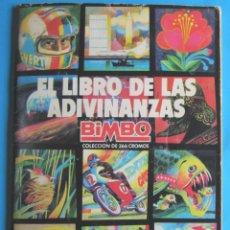 Coleccionismo Álbumes: ÁLBUM INCOMPLETO CON 119 CROMOS PEGADOS, EL LIBRO DE LAS ADIVINANZAS. EDITADO POR BIMBO, 1974.. Lote 122856379