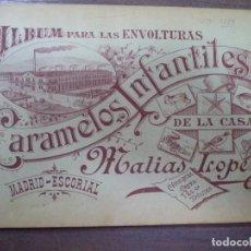 Coleccionismo Álbumes: ALBUM INCOMPLETO. ALBUM PARA LAS ENVOLTURAS DE LOS CARAMELOS INFATILES DE LA CASA MATIAS LOPEZ. 1906. Lote 125995943
