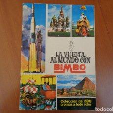 Collectionnisme Albums: ALBUM DE CROMOS LA VUELTA AL MUNDO CON BIMBO SIN CROMOS. NUNCA USADO. AÑO 1966. Lote 135762718