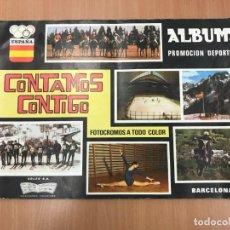 Coleccionismo Álbumes: ALBUM CONTAMOS CONTIGO VACIO EN PERFECTO ESTADO + 16 CROMOS SUELTOS. Lote 137259042