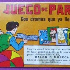 Coleccionismo Álbumes: ALBUM CROMOS JUEGO DE PAREJAS, 21 CROMOS, 3 DESPEGADOS, PIPAS TOSTAVAL,. Lote 140277162