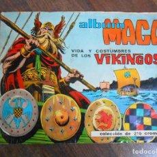 Coleccionismo Álbumes: ALBUM CROMOS VIKINGOS MAGA COMPLETO A FALTA DE 2 CROMO VIKINGS ALBUN . Lote 143156706