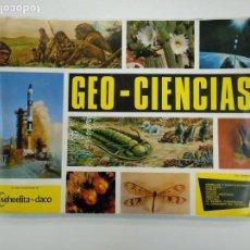 Coleccionismo Álbumes: ALBUM DE CROMOS GEO CIENCIAS. GEOCIENCAS. EDITORIAL SCHEELITA DACO. FALTAN 8 DE 343 CROMOS. TDKC38. Lote 146493178