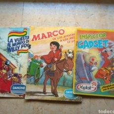 Coleccionismo Álbumes: LOTE 3 ÁLBUMES DE CROMOS DANONE YOPLAIT - WILLY FOG - INSPECTOR GADGET - MARCO. Lote 146884309