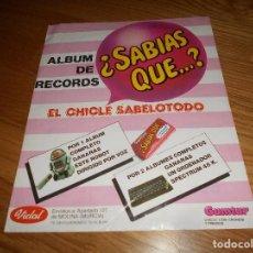 Coleccionismo Álbumes: ALBUM DE CROMOS DE CHICLE GUMTAR VIDAL ¿ SABIAS QUE ? NUEVO VACIO ORDENADOR SPECTRUM PERFECTO PLACHA. Lote 165318222