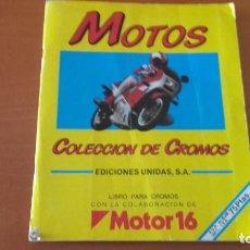 Coleccionismo Álbumes: MOTOS COLECCIÓN DE CROMOS CUSCÓ MOTOR 16 ÁLBUM INCOMPLETO. Lote 166511426