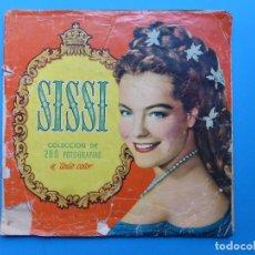 Coleccionismo Álbumes: ALBUM CROMOS SISSI - ED. BRUGUERA, AÑO 1957 - LE FALTAN 63 CROMOS, MAS UN SOBRE DE CROMOS VACIO. Lote 166885748