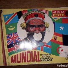 Coleccionismo Álbumes: ALBÚN DE CROMOS MUNDIAL DE RAZAS BANDERAS Y ESCUDOS. Lote 170526896