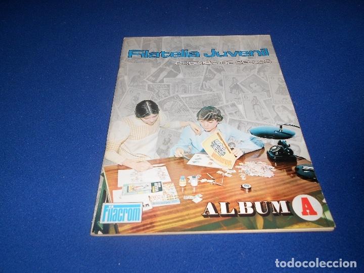 FILATELIA JUVENIL ÁLBUM A NO COMPLETO VACIO PLANCHA FILACROM 1973. MUY BUEN ESTADO Y RARO. (Coleccionismo - Cromos y Álbumes - Álbumes Incompletos)