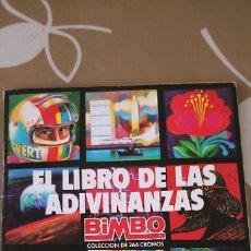 Coleccionismo Álbumes: ALBUM DE CROMOS EL LIBRO DE LAS ADIVINANZAS BIMBO INCLUYE LOTE DE CROMOS PEGADOS Y SIN PEGAR. Lote 182282290