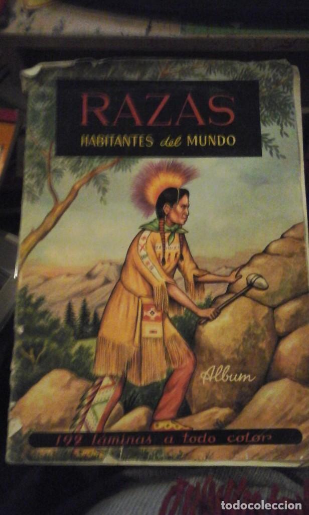 RAZAS. HABITANTES DEL MUNDO. ALBUM DE CROMOS CON 56 CROMOS (MADRID, 1961) (Coleccionismo - Cromos y Álbumes - Álbumes Incompletos)