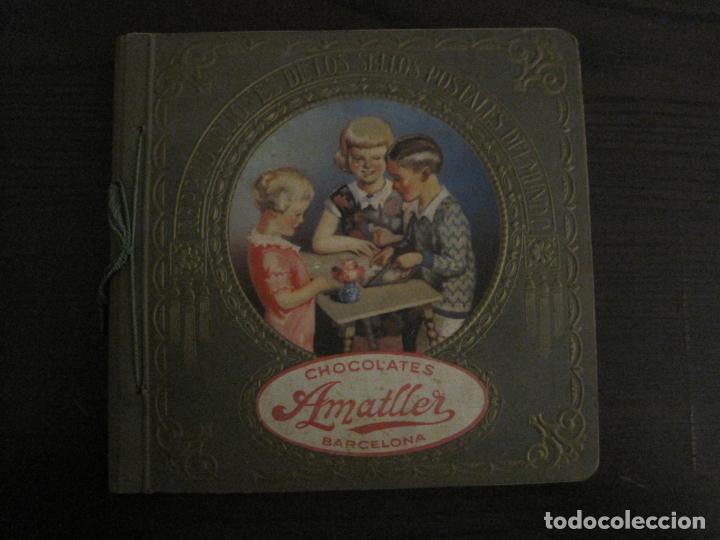 CHOCOLATE AMATLLER-ALBUM SELLOS POSTALES DEL MUNDO-INCOMPLETO-VER FOTOS-(V-18.606) (Coleccionismo - Cromos y Álbumes - Álbumes Incompletos)