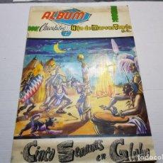 Coleccionismo Álbumes: ALBUM PLANCHA CINCO SEMANAS EN GLOBO CHOCOLATES HIJO DE MARCOS TONDA ESCASO 1962. Lote 191369885