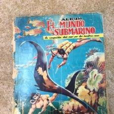 Coleccionismo Álbumes: ÁLBUM DE CROMOS EL MUNDO SUBMARINO AÑO 1957 INCOMPLETO. Lote 201727001