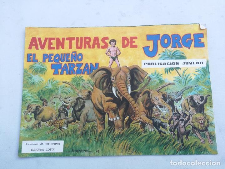 ANTIGUO ALBUM VACIO DE LAS AVENTURAS DE JORGE - EL PEQUEÑO TARZAN - EDITORIAL COSTA - 1969 - EN PERF (Coleccionismo - Cromos y Álbumes - Álbumes Incompletos)