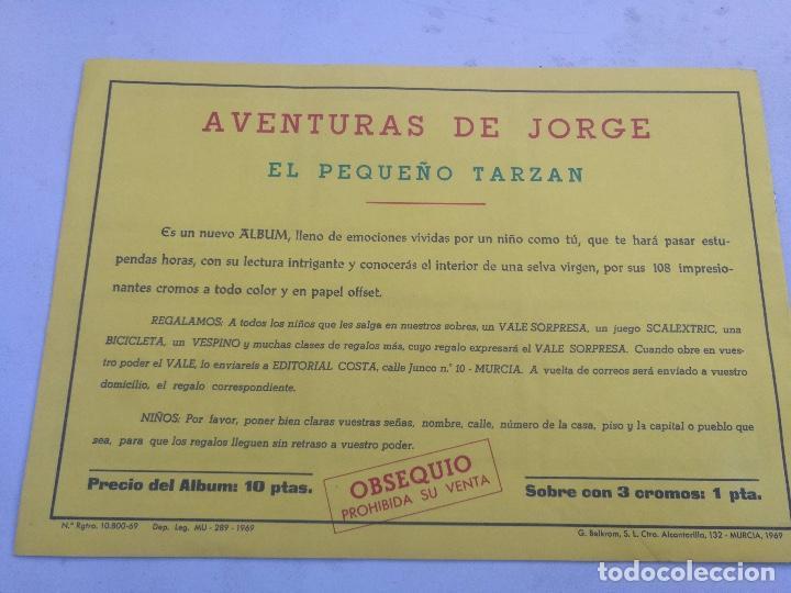 Coleccionismo Álbumes: ANTIGUO ALBUM VACIO DE LAS AVENTURAS DE JORGE - EL PEQUEÑO TARZAN - EDITORIAL COSTA - 1969 - EN PERF - Foto 4 - 205648916