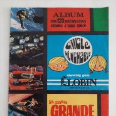 Coleccionismo Álbumes: ALBUM VACIO LA MAS GRANDE AVENTURA DEL HOMBRE CHICLES LLOBIN 1968. Lote 205694455