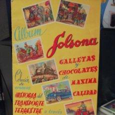 Coleccionismo Álbumes: ALBUM DE CROMOS SOLSONA HISTORIA DEL TRANSPORTE TERRESTRE + 8 CROMOS NUNCA PEGADOS ED. FHER. Lote 206451422