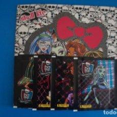 Coleccionismo Álbumes: ALBUM VACIO + 4 SOBRES DE CROMOS SIN ABRIR DE MONSTER HIGH SKULL LIFE AÑO 2013 DE PANINI. Lote 211389985