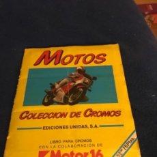 Coleccionismo Álbumes: LIBRO COLECCION DE CROMOS CAMBIO 16 MOTOS ALEX1. Lote 219750663