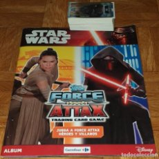 Coleccionismo Álbumes: ALBUM INCOMPLETO STAR WARS TOPPS FORCE ATTAX TRADING CARD GAME CARREFOUR + 82 CROMOS. Lote 221888357