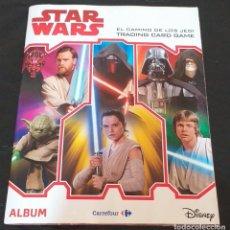 Coleccionismo Álbumes: ALBUM STAR WARS EL CAMINO DE LOS JEDI TRADING CARDS GAME DEL CARREFOUR BASTANTE COMPLETO. Lote 225115085