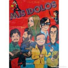 Coleccionismo Álbumes: ALBUM 1973 MIS IDOLOS FHER. CARICATURAS DE CANTANTES TV CINE. FALTAN 5 Y EN POSTER SOLO HAY UN CROMO. Lote 226709405