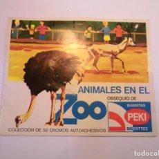 Coleccionismo Álbumes: ALBUM ANIMALES EN EL ZOO - 38 CROMOS DE 50 - BARRITAS PEKI. Lote 246136245