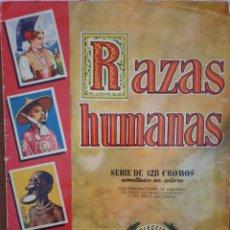Coleccionismo Álbumes: ALBUM RAZAS HUMANAS,BRUGUERA 1956 CON 56 CROMOS. Lote 253670635