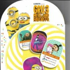 Coleccionismo Álbumes: ÁLBUM CARTAS 3D MINIONS GRU 3 MI VILLANO FAVORITO COLECCIÓN DIA CON 31 CARTAS. Lote 256068000