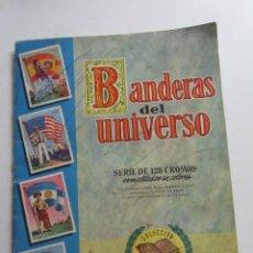 Coleccionismo Álbumes: ÁLBUM DE CROMOS - BANDERAS DEL UNIVERSO - EDITORIAL BRUGUERA FALTAN 41 DE 128 AÑO 1956. ARX99. Lote 263189430
