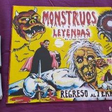 Coleccionismo Álbumes: ALBUM CROMOS PLANCHA VACIO - MONSTRUOS Y LEYENDAS - REGRESO AL TERROR MAS CROMOS Y SOBRE. Lote 268851984